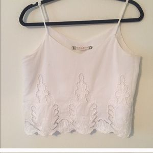 White Crop Tank with Lace cutout detail
